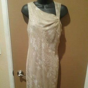 Powell Boutique Formal 100% Silk Tan Dress Sz 8